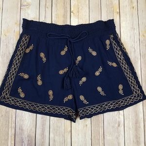 J. CREW Embroidered Gauzy Cotton Shorts
